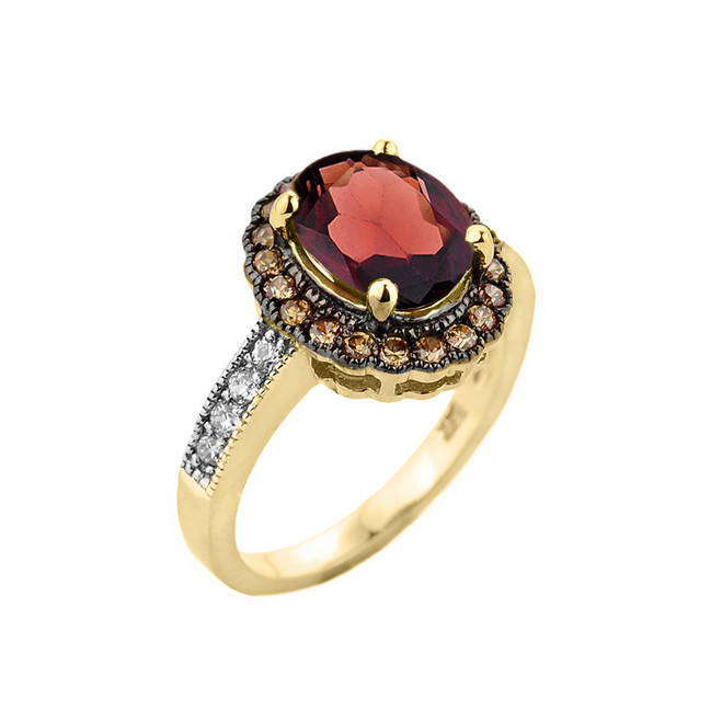 Yellow Gold Garnet and Diamond Engagement Ring
