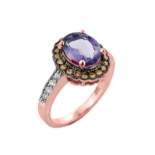 Rose Gold Diamond and Alexandrite (LCA) Engagement Ring