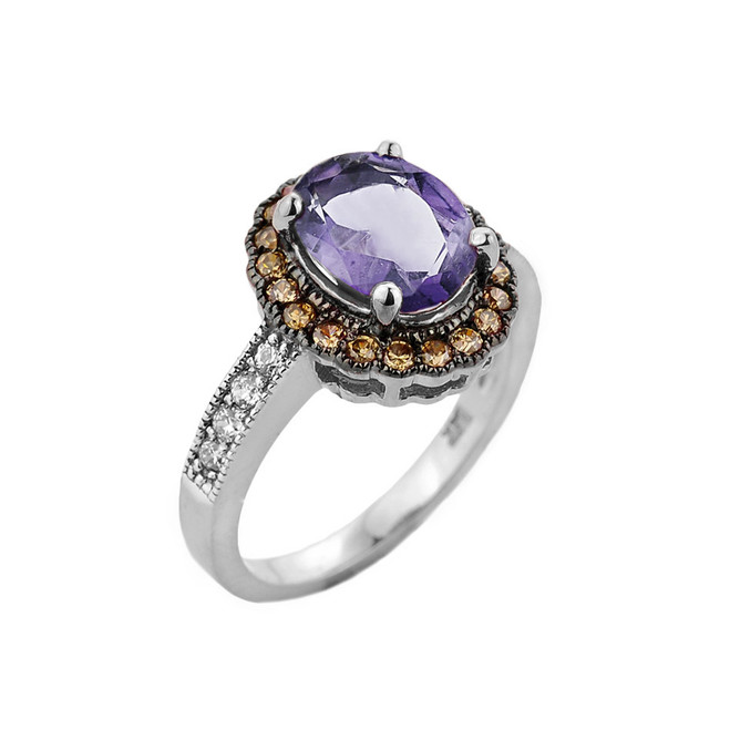White Gold Diamond and Alexandrite (LCA) Engagement Ring