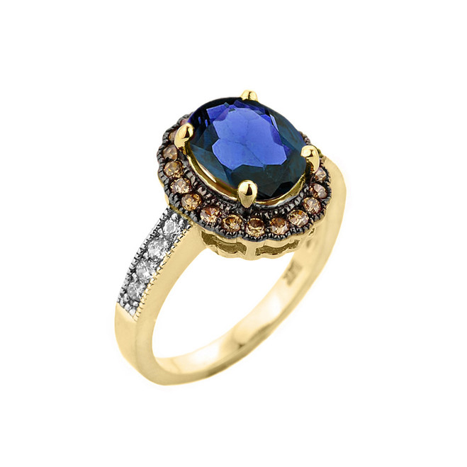 Yellow Gold Diamond and Sapphire (LCS) Engagement Ring