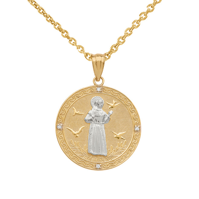 Two Tone Yellow Gold Saint Francis of Assisi Circle Medallion Diamond Pendant Necklace (Small)
