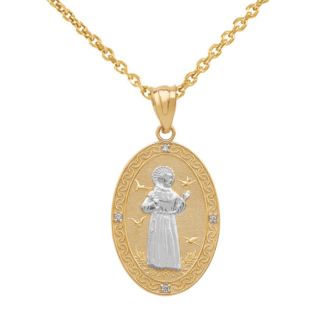 Two Tone Yellow Gold Saint Francis of Assisi Oval Medallion Diamond Pendant Necklace (Small)