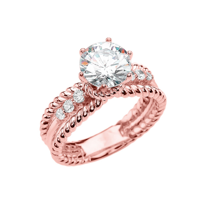 Diamond Rose Gold Rope Design Modern Engagement Solitaire Ring With 1 Carat White Topaz Center stone