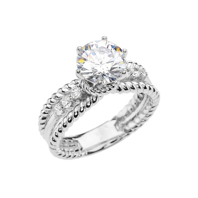Diamond White Gold Rope Design Modern Engagement Solitaire Ring With 1 Carat White Topaz Center stone