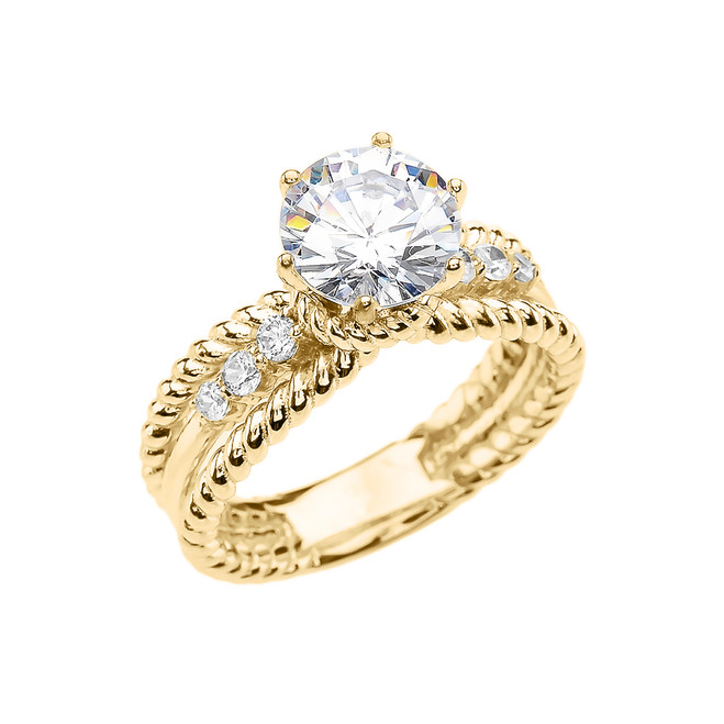 Diamond Yellow Gold Rope Design Modern Engagement Solitaire Ring With 1 Carat White Topaz Center stone