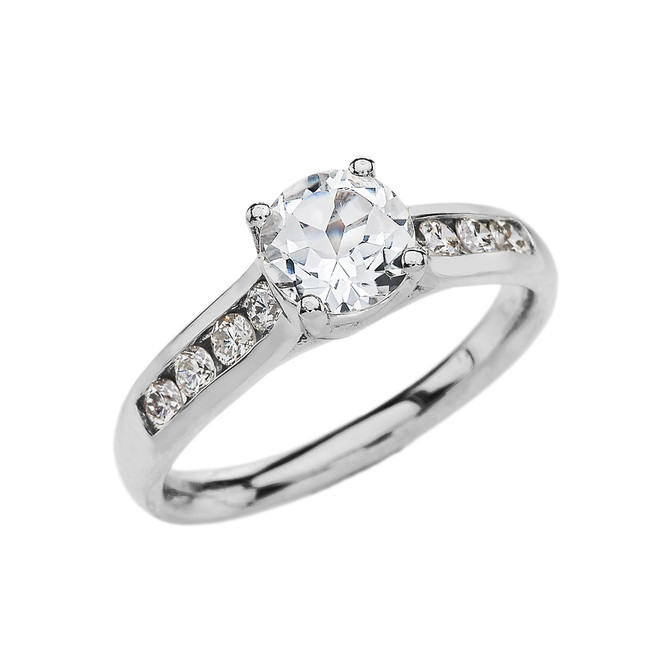 Channel Set Diamond White Gold Engagement Solitaire Ring With 1 Carat White Topaz Center stone
