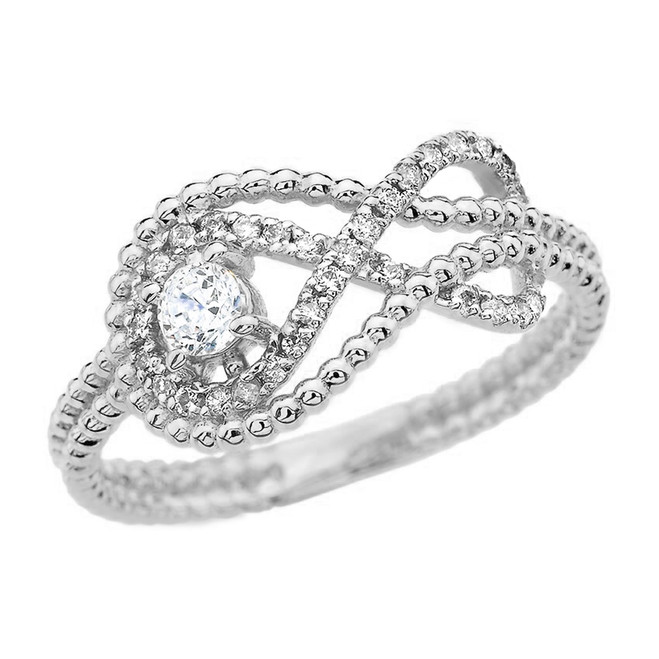 Diamond Infinity Beaded Ring in White Gold
