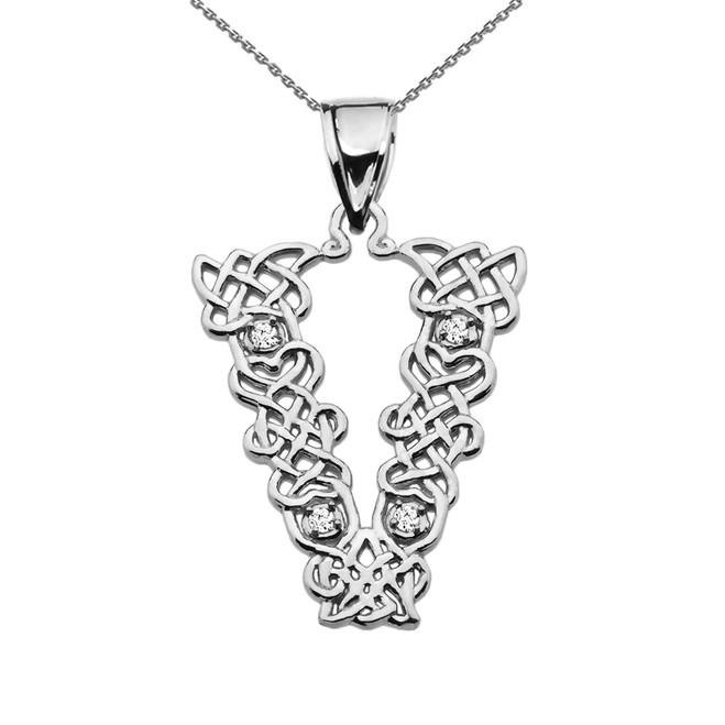 """V"" Initial In Celtic Knot Pattern White Gold Pendant Necklace With Diamond"