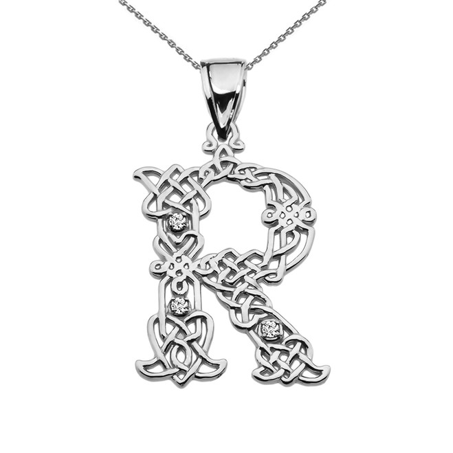 """R"" Initial In Celtic Knot Pattern White Gold Pendant Necklace With Diamond"