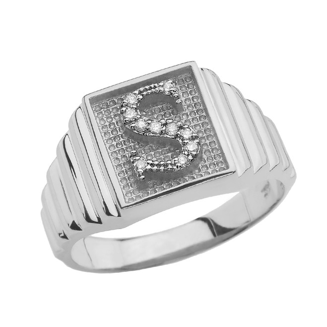 Sterling Silver Diamond Initial S Ring