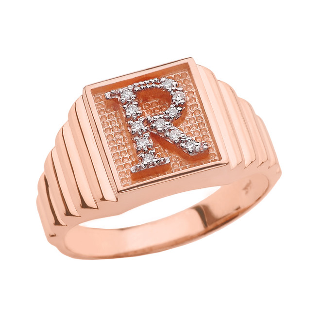 Rose Gold Diamond Initial R Ring