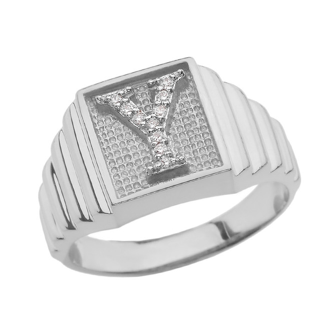 Sterling Silver Diamond Initial Y Ring