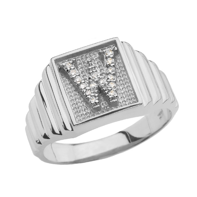 Sterling Silver Diamond Initial W Ring