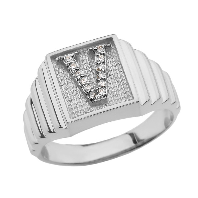 Sterling Silver Diamond Initial V Ring