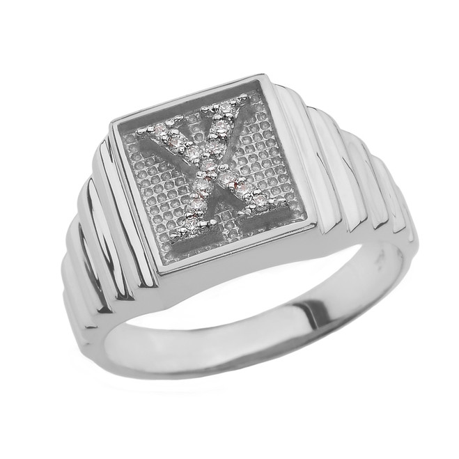 Sterling Silver Diamond Initial X Ring