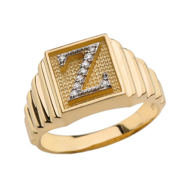 Yellow Gold Diamond Initial Z Ring