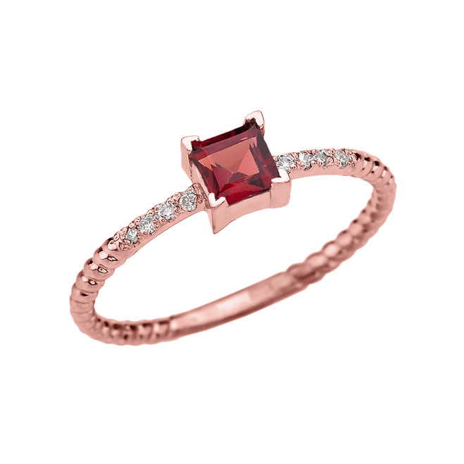 Dainty Rose Gold Solitaire Princess Cut Garnet and Diamond Rope Design Engagement/Promise Ring