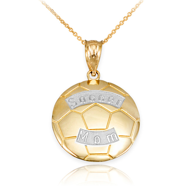 Two Tone Yellow Gold Soccer Mom Soccer Ball Sports Pendant Necklace