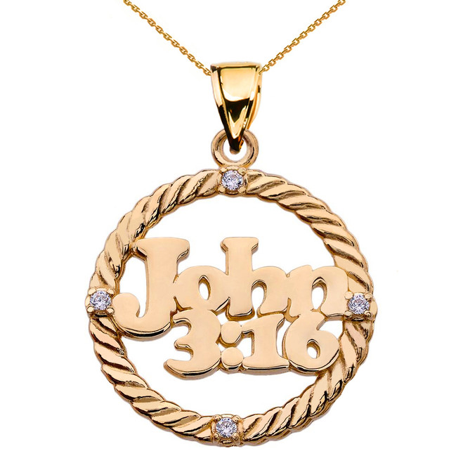 Yellow Gold John 3:16 Diamond Rope Design Pendant Necklace