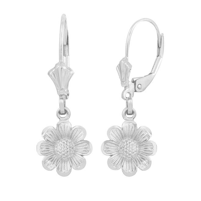 14K White Gold Sunflower Diamond Cut Earring Set