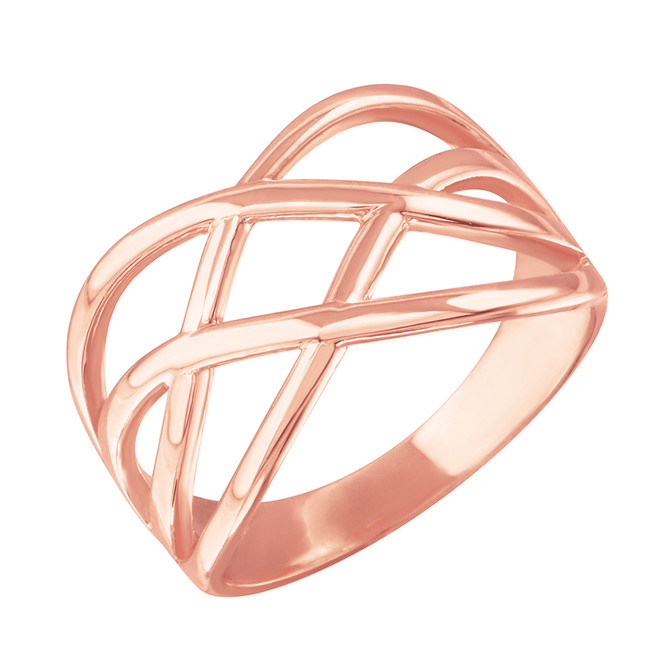 Rose Gold Celtic Knot Wide Band Women's Ring
