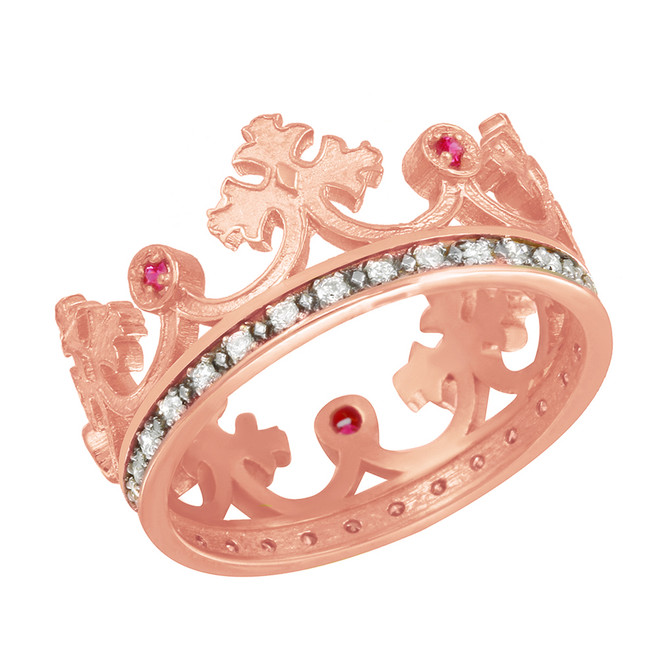 Rose Gold Red CZ Medieval Crown Diamond Band Women's Ring