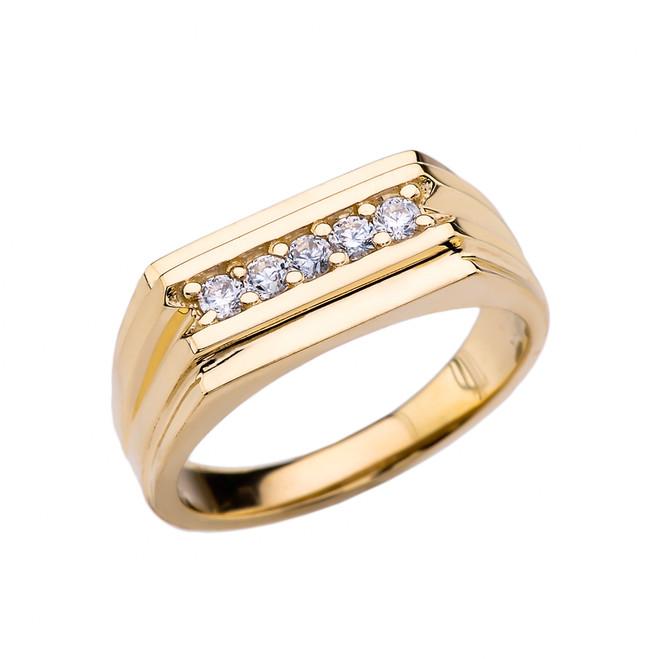 0.25 Carat Diamond Yellow Gold Men's Ring