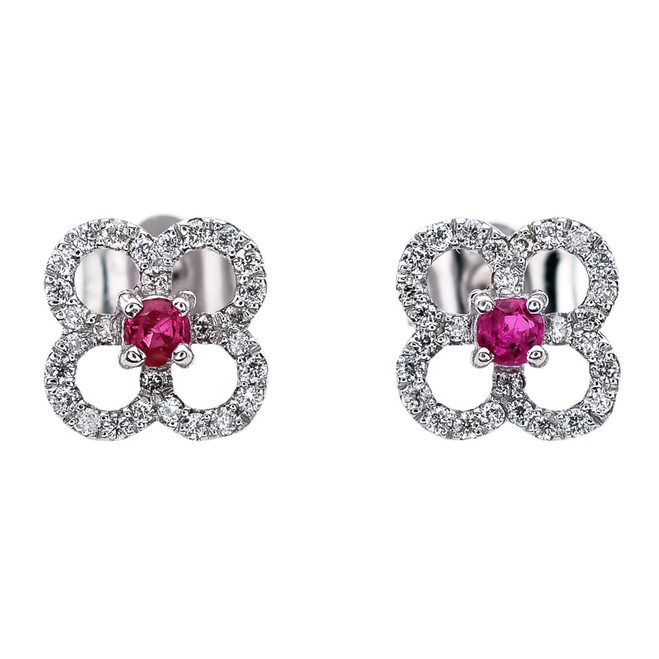 Diamond and Ruby 4 Leaf Clover White Gold Stud Earrings
