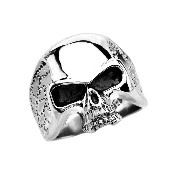 Sterling Silver Punisher Skull Wide Cast Ring
