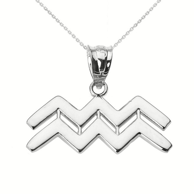 Sterling Silver Aquarius February Zodiac Sign Pendant Necklace