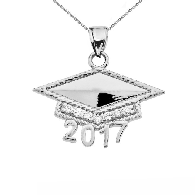 White Gold  Class of 2017 Graduation Cap with Diamond Pendant Necklace