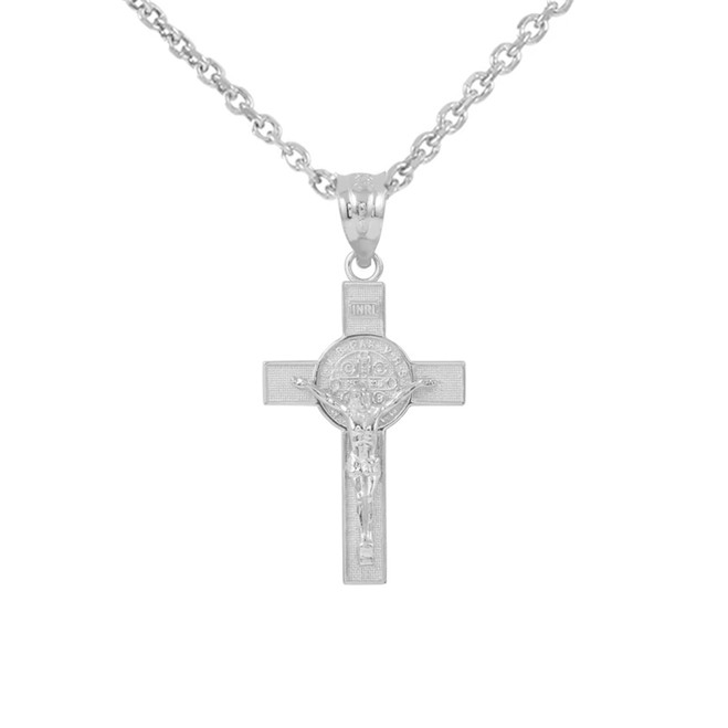 "White Gold St. Benedict Crucifix Pendant Necklace (1.10"")"
