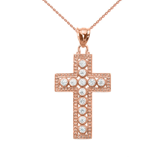 Rose Gold Cross Pendant Necklace With Cubic Zirconia