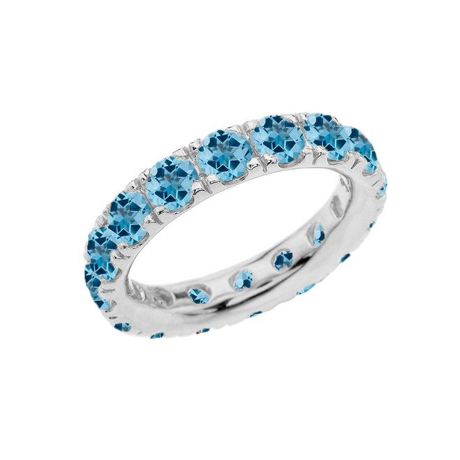 4mm Comfort Fit White Gold Eternity Band With 5.25 ct December Birthstone Genuine Blue Topaz