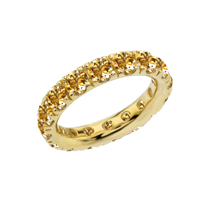 4mm Comfort Fit Yellow Gold Eternity Band With 3.25 ct November Birthstone Genuine Citrine