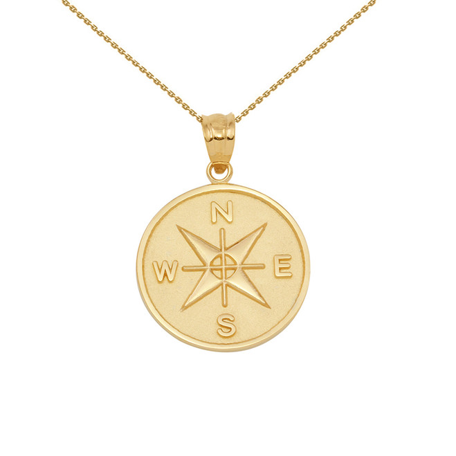 Yellow Gold Compass Medallion Pendant Necklace