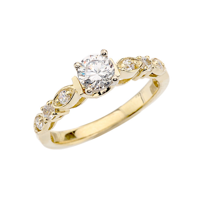 Yellow Gold Diamond Engagement/Proposal Ring With White Topaz Center Stone