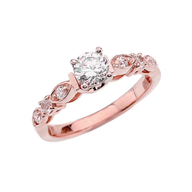 Rose Gold Diamond Engagement/Proposal Ring With White Topaz Center Stone