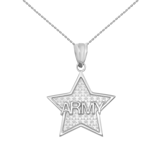 Sterling Silver US Army Star Pendant Necklace