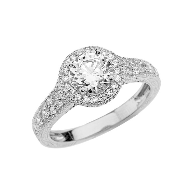 White Gold Art Deco Diamond Engagement Ring With 1 ct White Topaz Center Stone