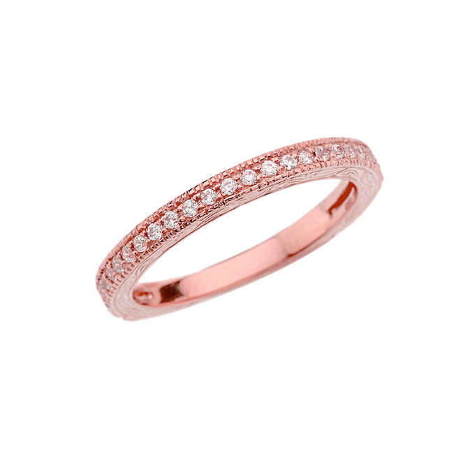 Rose Gold Art Deco Wedding Band With Cubic Zirconia