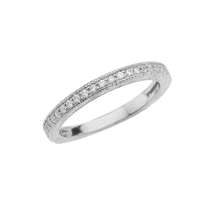 White Gold Art Deco Diamond Wedding Band