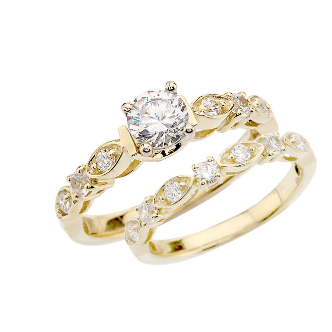 Yellow Gold Wedding Ring Set With Cubic Zirconia