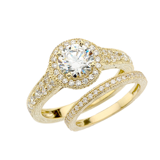 Yellow Gold Art Deco Diamond Wedding Ring Set With 1 ct White Topaz Center Stone