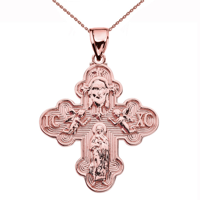 Rose Gold Orthodox ICXC Cross (Save Us) Pendant Necklace