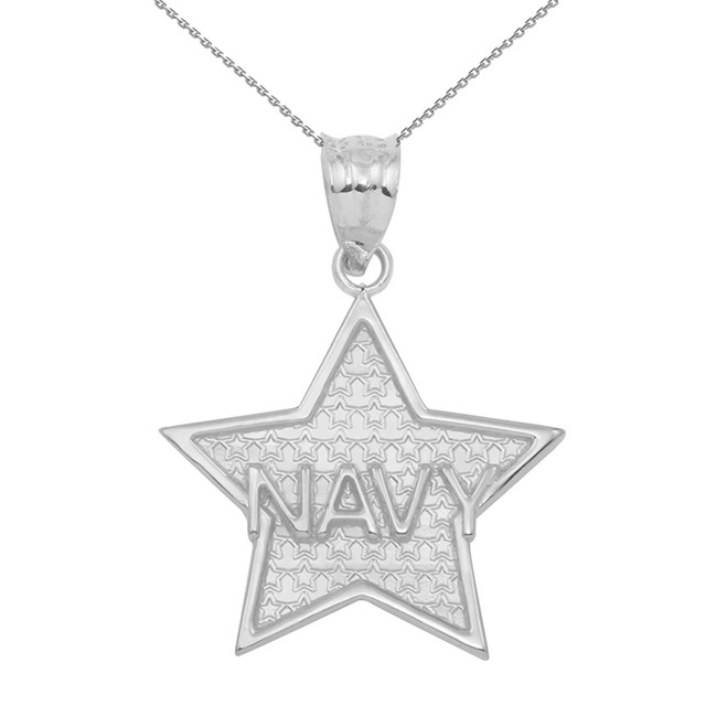 White Gold Navy Star Pendant Necklace