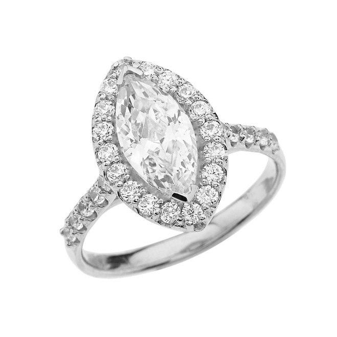 White Gold Engagement/Proposal Ring With Marquise Cut Cubic Zirconia