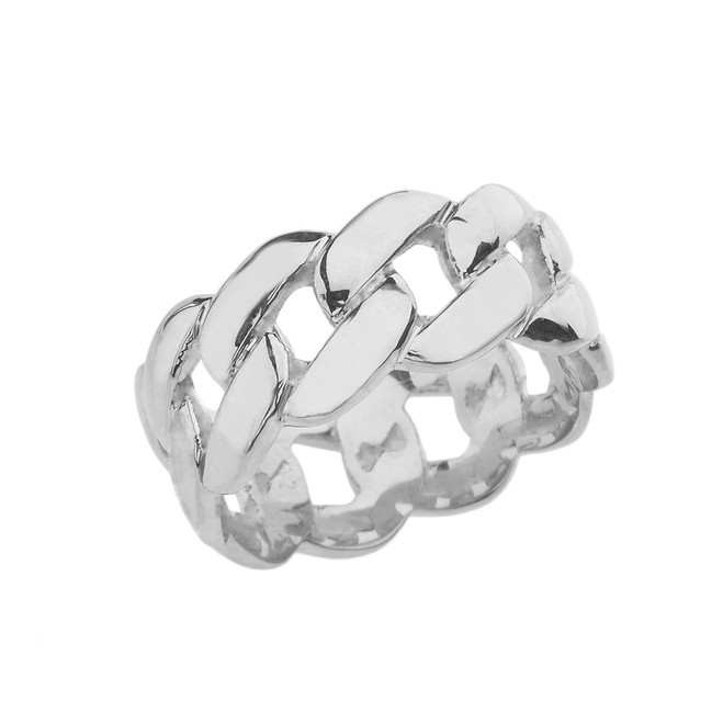 Sterling Silver 10 mm Unisex Cuban Link Chain Eternity Band Ring