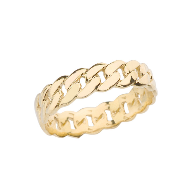 Yellow Gold 5 mm Cuban Link Chain Eternity Band Ring