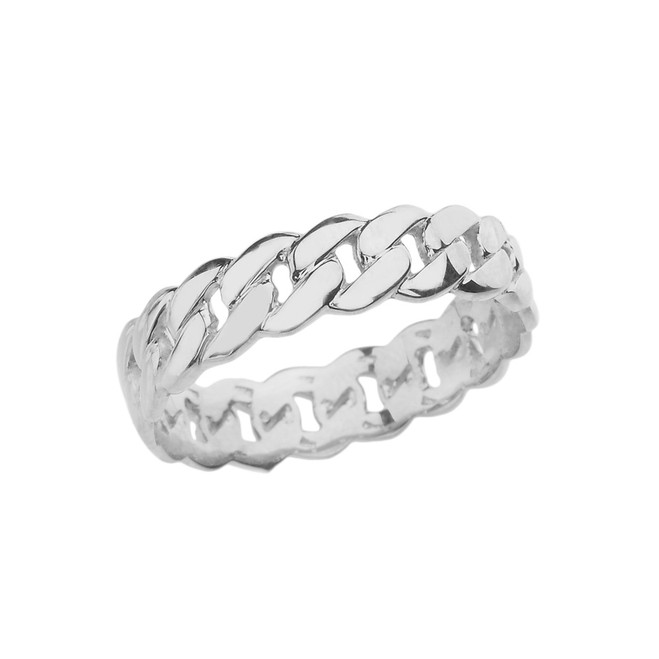 Sterling Silver 5 mm Cuban Link Chain Eternity Band Ring